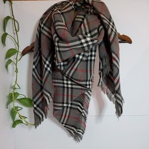 Accessories - ❤Thick plush wool checkered plaid square scarf